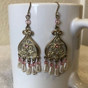 Jewelry - Pink and Silver Beaded Earrings